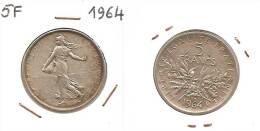 Lot Pièce 5 Francs Semeuse 1964 Argent SUP - J. 5 Francos