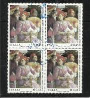 ITALIA REPUBBLICA 2006 ANDREA MANTEGNA TIMBRATO QUARTINA - 1946-.. République