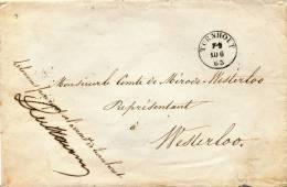 754/19 - Lettre En FRANCHISE TURNHOUT 1863 Vers WESTERLOO - Manuscrit Et Sceau De Cire Le Commissaire D' Arrondissement - Postmark Collection