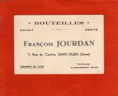 BOUTEILLES FRANCOIS JOURDAN SAINT OUEN CLIGNANCOURT - Cartes De Visite