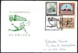 AUSTRIA ST. POLTEN 1991 -  5 JAHRE LANDESHAUPTSTADT - NUMERATORE 1 - TRACCE DI RUGGINE SUI FRANCOBOLLI - Pallamano