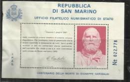 """SAN MARINO 1982 FOGLIETTO ERINNOFILO IPZS- """"100 MORTE DI GIUSEPPE GARIBALDI MH - Variétés Et Curiosités"""