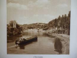 Bords Du Rhone , L'Ile Barbe , Péniche , Héliogravure Sépia De 1941 - Historische Documenten