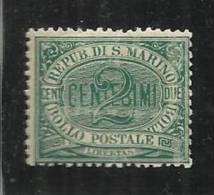 SAN MARINO 1877 CIFRA O STEMMA CENTESIMI 2 VERDE MNH - San Marino