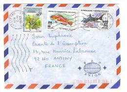 VEND TIMBRES DE MADAGASCAR N° 1531 + 1789 + 1231 , SUR LETTRE , COTE : ?,?, !!!! - Madagascar (1960-...)