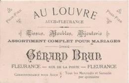 """FLEURANCE (GERS) CARTE DE VISITE ANCIENNE DU MAGASIN """"AU LOUVRE"""" GERARD BRUN TISSUS MEUBLES BIJOUTERIE - Tarjetas De Visita"""