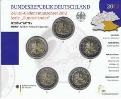 DUITSLAND - 5 X 2 EURO 2012 BU - BAVARIA (LETTERS A-D-F-G-J) - Allemagne
