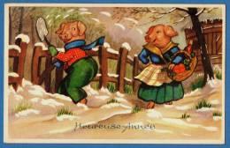 PIG HUMANISED - COCHON HUMANISE - BONNE ANNEE - SNOW - NEIGE - Pigs