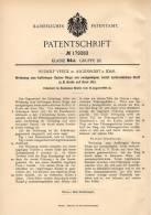 Original Patentschrift - R. Veeck In Algenrodt B. Idar , 1905 , Werkzeug Für Flache Ringe , Kork !!! - Werkzeuge
