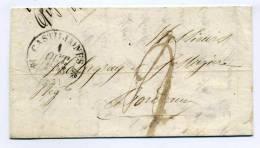LAC Avec Cad T12 De CASTILLONNES  / Dept 45 Lot Et Garonne / 1 Oct 1843  / Taxe Manuscrite 2 Decimes / Pour Bordeuax - Art
