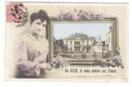 LOIRET  /  De  GIEN , Je Vous Envoie Ces Fleurs  ( Fantaisie Avec Femme En Dentelles Et Hôtel-de-ville ) - Gien