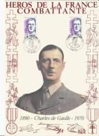 HEROS DE LA FRANCE COMBATTANTE     1er  Jour   Charles De Gaulle 24/02/1990 - De Gaulle (General)