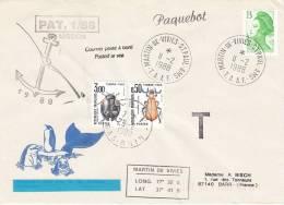 France Y&T 2483 Obl MARTIN DE VIVIES - ST PAUL - AMS Du 11.2.1988 Avec Cachets De Mission - Taxes