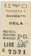 Biglietto Treno   -    CANICATTI´ /   GELA   -   Del  15. 08.  1981 - Spoorwegen
