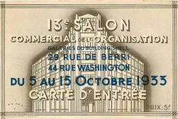 BUILDING SHELL, Rue De Berri, Washington, 13e Salon De L'Organisation, Carte D'Entrée. 2 Scans Publicité Mallerich Vitry - Advertising