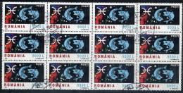 ROMANIA 2001Zodiac Definitive 9000L Block Of 12 Postally Used.  Michel 5623 - 1948-.... Republics