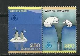 Corée. Preservation Des Regions Polaires & Des Glaciers .2 T-p Neufs **  Se-tenant - Korea (Zuid)