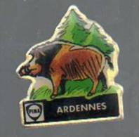 PINS PIN'S CARBURANTS CHASSE SANGLIER FINA ARDENNES - Animali
