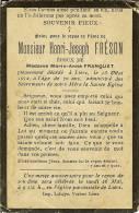 Faire-parts De Décès De LIERS De Mr HENRI-JOSEPH Fréson En 1912 ( Impr .VOROUX ) - Décès