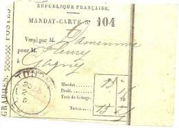 REF LPU11 - FRANCE - TALON DE MANDAT CARTE OBLITERE A TOURNY 2/11/1907 - Feuilles Complètes