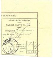 REF LPU11 - FRANCE - TALON DE MANDAT CARTE OBLITERE A TOURNY 19/3/1909 - Feuilles Complètes
