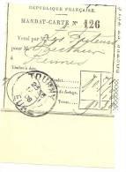 REF LPU11 - FRANCE - TALON DE MANDAT CARTE OBLITERE A TOURNY 14/1/1908 - Feuilles Complètes