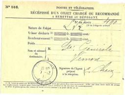 REF LPU11 - FRANCE - RECEPISSE DE CHARGEMENT DE VALEURS OBLITERE A TOURNY 7/12/1911 - Feuilles Complètes