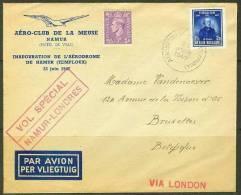 BELGIUM AERO -CLUB SPECIAL FLIGHT NAMUR-LONDON 1947 - Airmail
