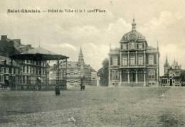 BELGIQUE - SAINT-GHISLAIN - CPA - Saint-Ghislain, Hôtel De Ville Et La Grand'Place - Saint-Ghislain