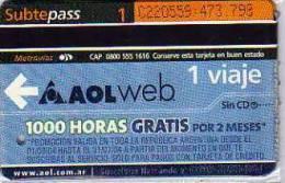 TICKET DE METRO SUBTE  CIUDAD DE BUENOS AIRES  ARGENTINA  OHL   OHL - Mondo