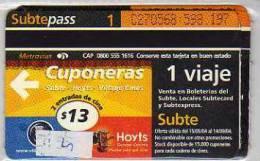 TICKET DE METRO SUBTE  CIUDAD DE BUENOS AIRES  ARGENTINA  OHL   OHL - Busse