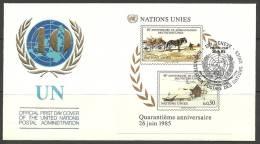 UN Genf 26.06.1985 FDC Naciones Unidas UN 40th Anniversary Jahrestag - Office De Genève