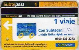 TICKET DE METRO SUBTE  CIUDAD DE BUENOS AIRES  ARGENTINA  OHL   OHL - Bus