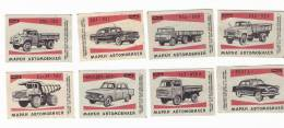 1966 USSR (Russia) 8 Matchbox Labels Cars  Trucks - Zündholzschachteletiketten