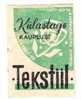 1956 Estonia Viljandi Machfactory 1  Matchbox Label Textile Shop Advertising - Cajas De Cerillas - Etiquetas