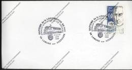 Enveloppe Cachet Bapteme De La Locomotive BB7411 21 22 Juin 1986 Lamure Sur Azergues Sur Timbre Arago - Treni