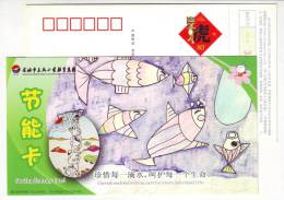 Saving Each Water Drop For Life,children Drawing,CN 10 Yuyao Dongfeng Primary School Saving Energy Pre-stamped Card - Environment & Climate Protection