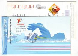 Swimming Sport,CN 08 Cheering For Olympic From Beijing Workers Pre-stamped Card - Swimming