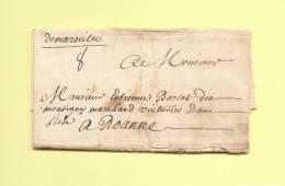 Lettre De Marseille Manuscrit Pour Roanne - 1710 - Postmark Collection (Covers)
