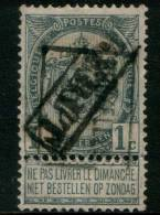 Belgium Coat Of Arms 1c 1893 Type , BRUXELLES REBUT , Inverted Roller Precancel , No Gum - Precancels