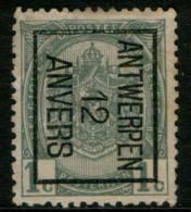 Belgium Coat Of Arms 1c 1907 Type , ANTWERPEN 12 ANVERS ,  Inverted Roller Precancel , No Gum - Precancels