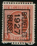 Belgium King Albert I, 3c 1922  Type , BRUXELLES 1927 BRUSSEL, Inverted Roller Precancel, No Gum - Préoblitérés