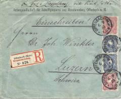 1889 Brief Von Offenburg Nach Luzern Einschreiben Mit Je 2mal 10Pf Und 20 Pf Reichsadler - Deutschland