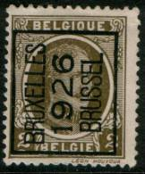 Belgium King Albert I, 2c 1922  Type , BRUXELLES 1926 BRUSSEL,  Roller Precancel, No Gum - Precancels