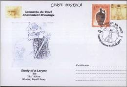 Study Of The Larynx. / Voice Box 1490 , Windsor Royal Library, Da Vinci Vitruvian Man Masonic Symbol Freemasonry - Medicina