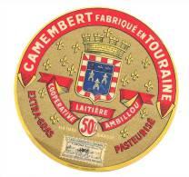 Ancienne Etiquette Fromage  Camembert Fabriqué En  Touraine 50%mg  Coopérative Laitiere Ambillou  Blason - Fromage