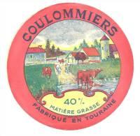 Ancienne Etiquette Fromage  Coulommiers  Fabriqué En Touraine 40%mg - Fromage