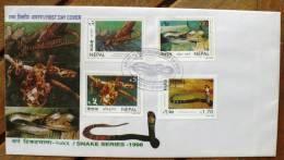 NEPAL REPTILES SNAKES KING COBRA, GOLDEN TREE SNAKE ASIATIC ROCK PYTHON KARAN´S PIT VIPER, Sur FDC 29/11/98 - Serpents