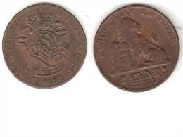 Belguim 2  Centimes 1864  French   Vf - 1831-1865: Leopold I