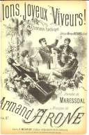 Allons Joyeux Buveurs, Chanson Bachique - Vin - Partitions Musicales Anciennes